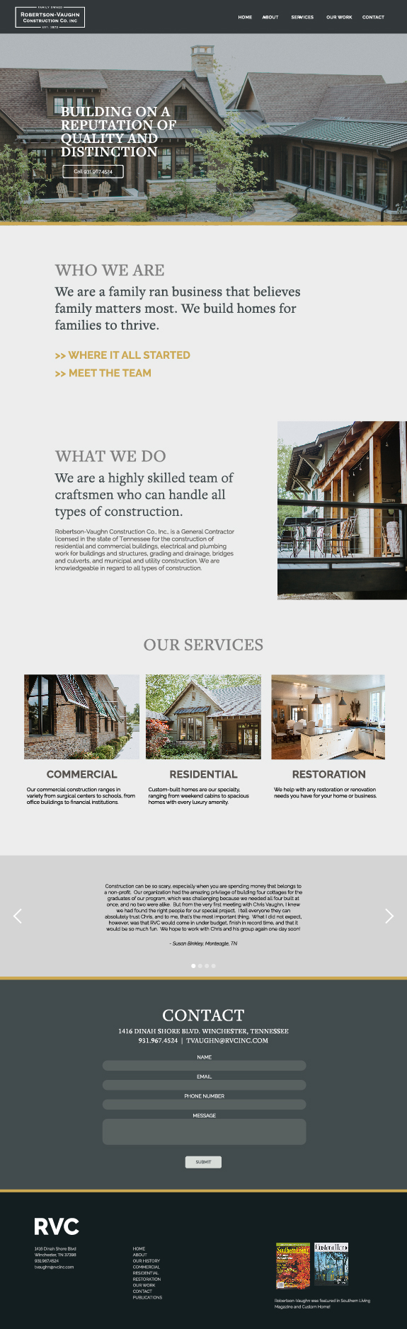 Robertson-Vaughn Construction Co. Website Design Home Page overview layout