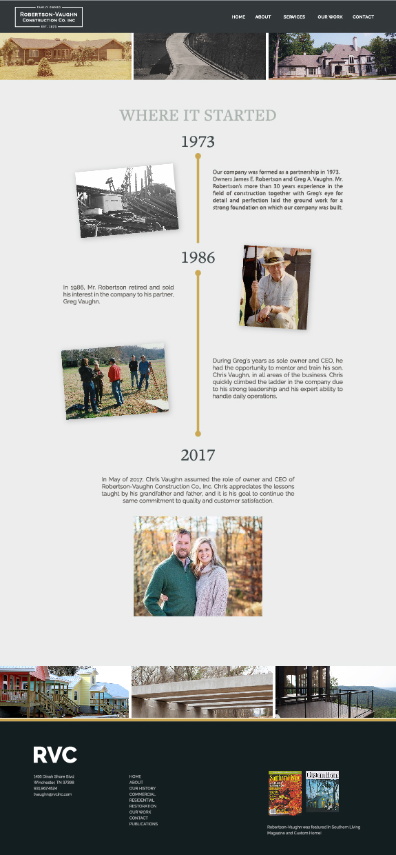 Robertson-Vaughn Construction Co. Web design history page overview layout