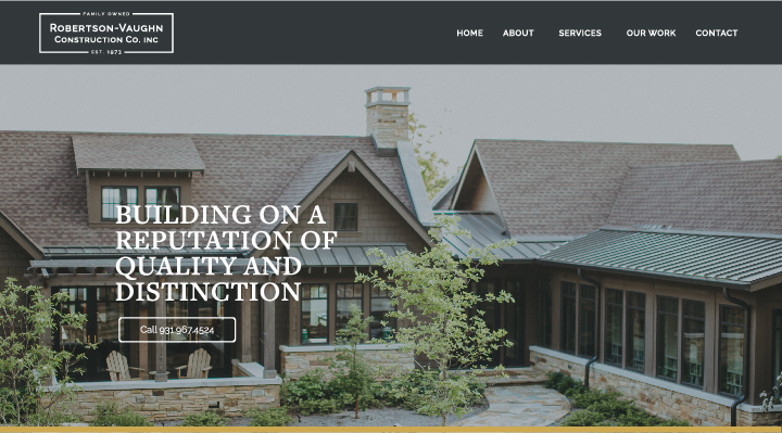 Robertson-Vaughn Construction Co. Home Page Website Feature Image.