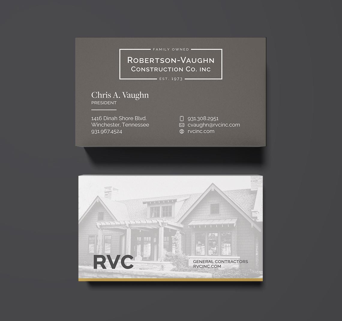 Robertson-Vaughn Construction Co. Business Card Design
