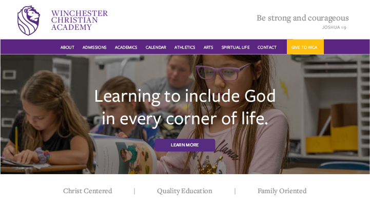 Winchester Christian Academy Website Home Page Feature