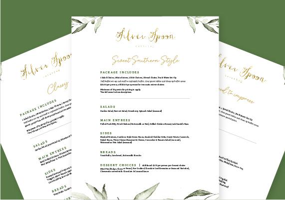 Silver Spoon Catering Menu Designs