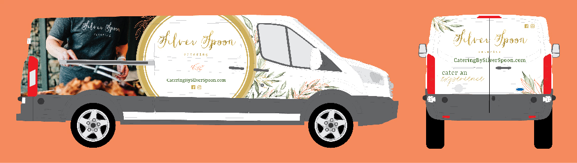 This is a design mockup for a van wrap for Silver Spoon Catering