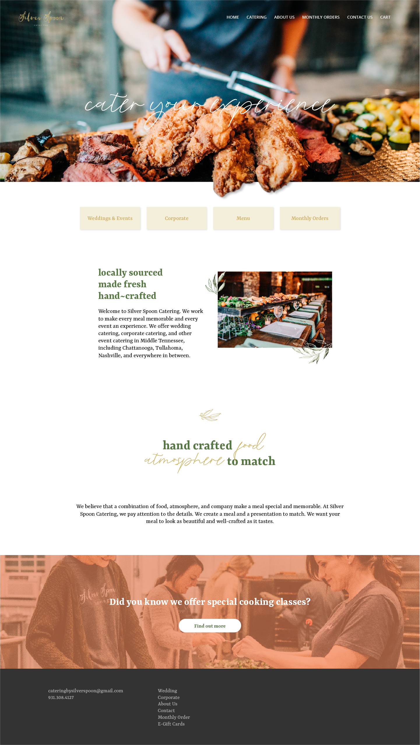 Silver Spoon Catering Home web page layout.