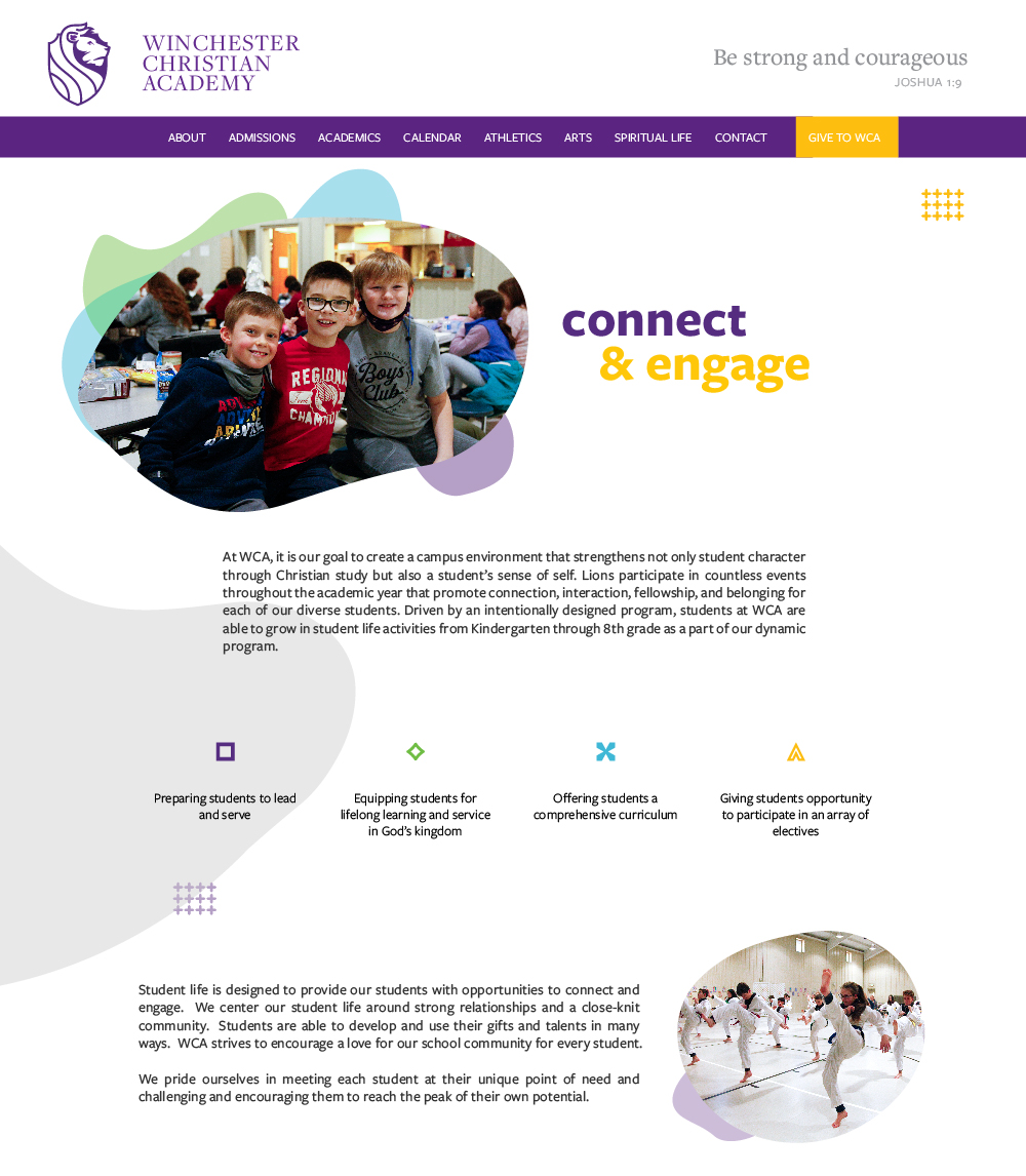 Winchester Christian Academy's Student life web page layout