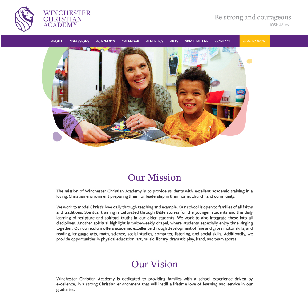 Winchester Christian Academy's About web page layout with Mission and Vision statements.