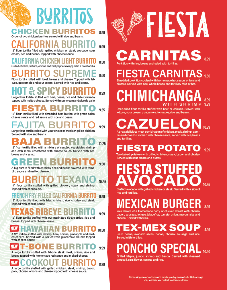 La Fiesta Mexican Restaurant Menu Design Layout. Burritos and Specialty Dishes
