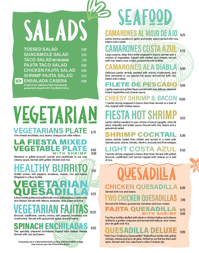 La Fiesta Mexican Restaurant Menu Design Layout. Salads, Vegetarian, Seafood and Dessert Page