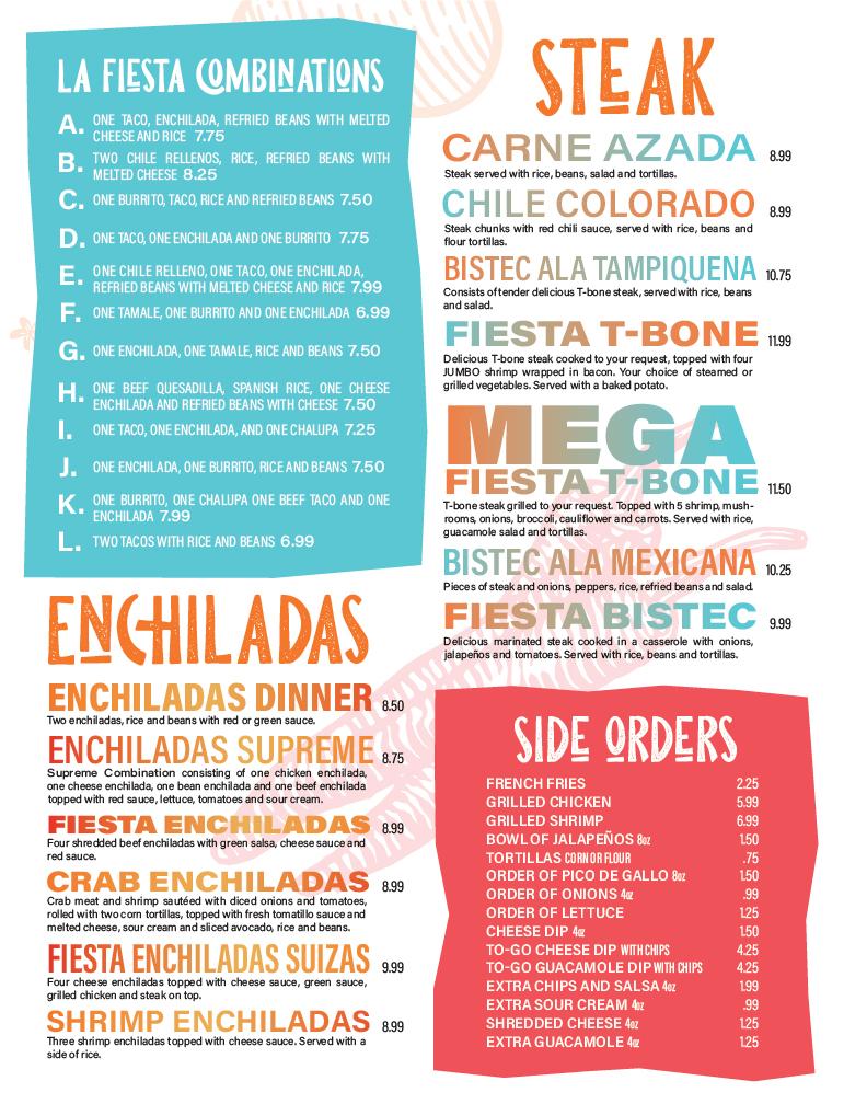 La Fiesta Mexican Restaurant Menu Design Layout. Combinations, Steak, enchiladas.