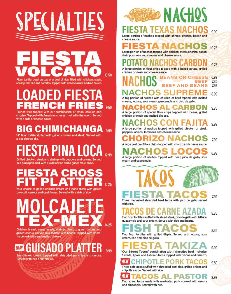 La Fiesta Mexican Restaurant Menu Design Layout. Specialty Dishes, Nachos and tacos.