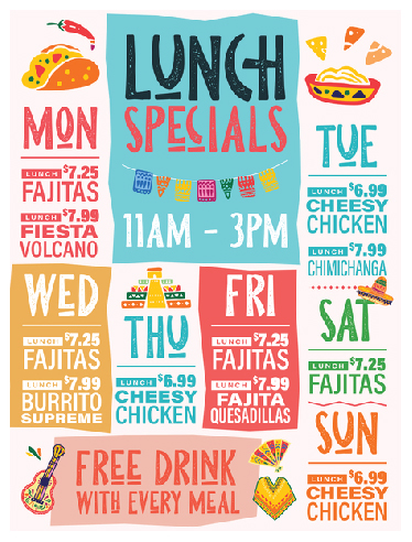 La Fiesta Mexican Restaurant Sign Graphic Design. Large Format sign with daily lunch specials. Festive colors and illustrations.