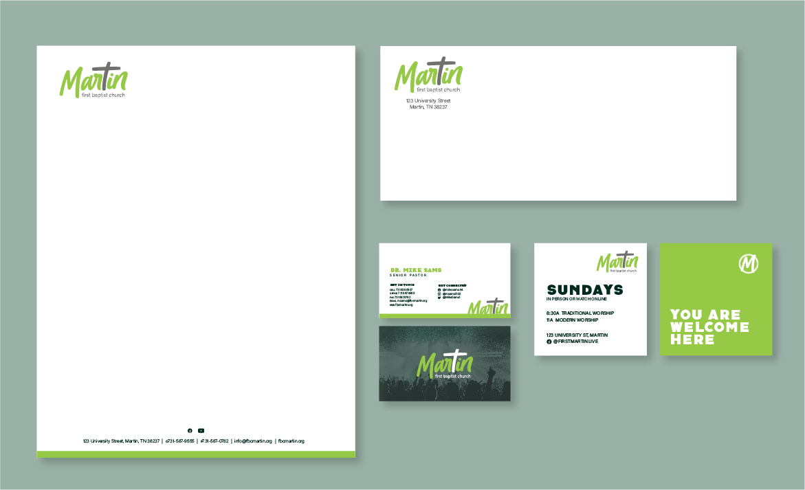 First Baptist Church Martin Print Collateral Suite. Letterhead, Envelope, Business cards and Outreach handout cards.