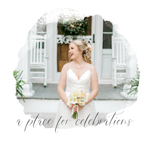 Bride in wedding dress in front of Promise Manor Smiling holding a bouquet of flowers.
