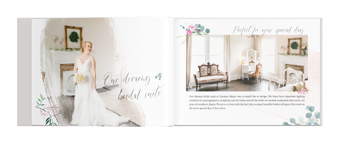 """Promise Manor booklet layout Design. A bride standing with text """"Our Dreamy bridal Suite"""" and I picture of the Bridal Suite."""