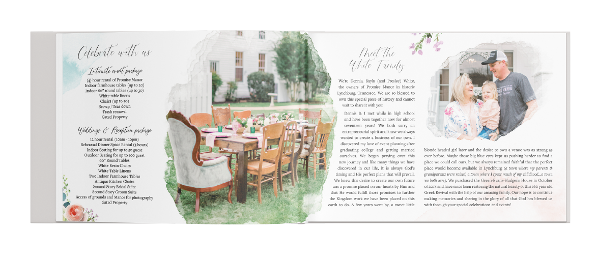 Promise Manor booklet layout Design. Wedding Services and About the Owner's.