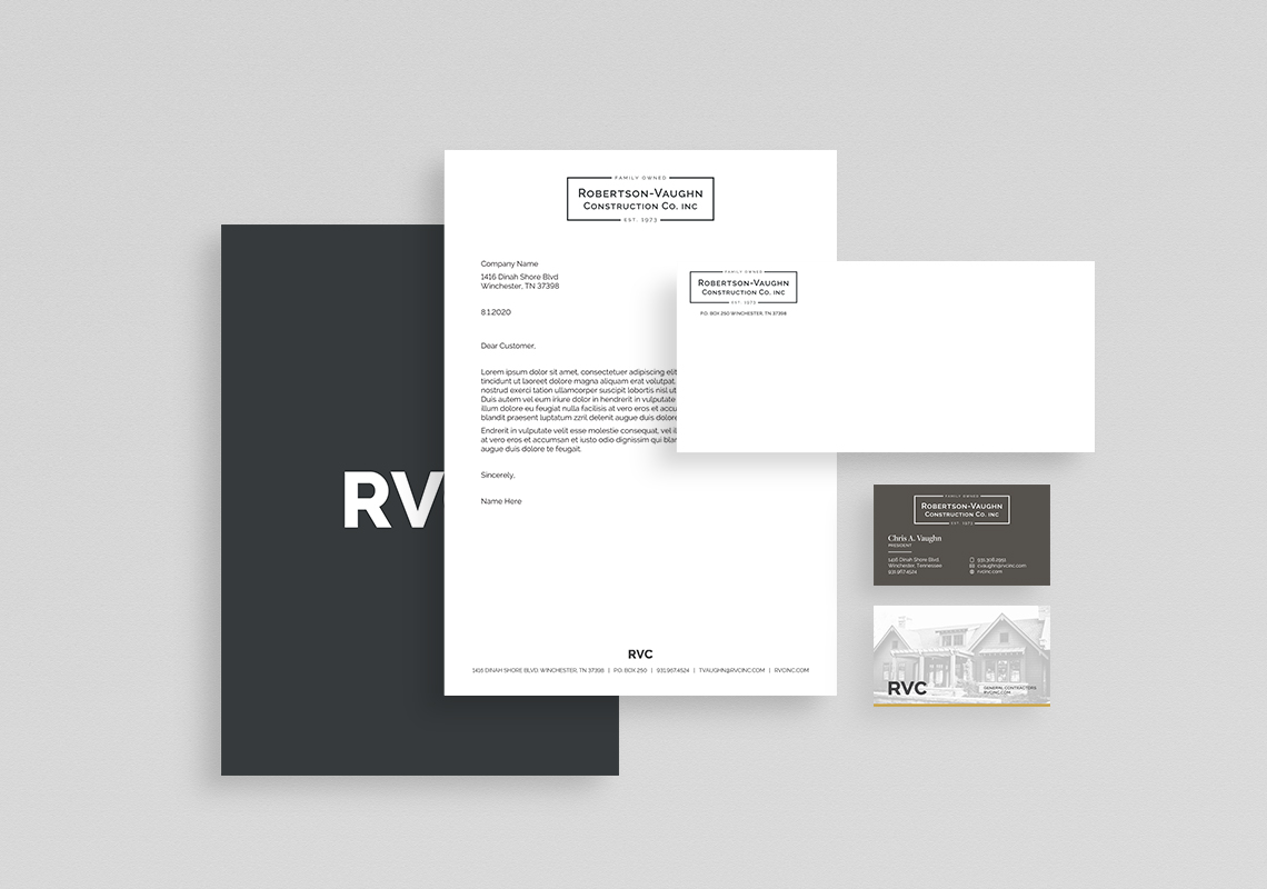 A branding suite of RVC. A cohesive layouts of a folder, letterhead, envelope and business cards.