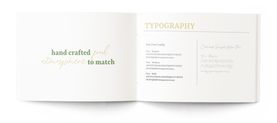 Silver Spoon Catering's Branding Style Guide With Typography Font Selection and guide lines.