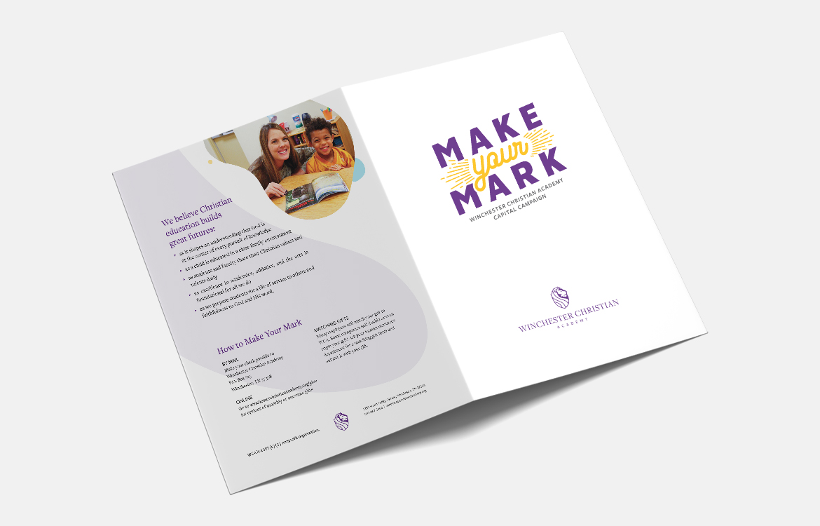 Winchester Christian Academy's Capital fundraiser program Make Your Mark Presentation Folder Design. Cover and Back.