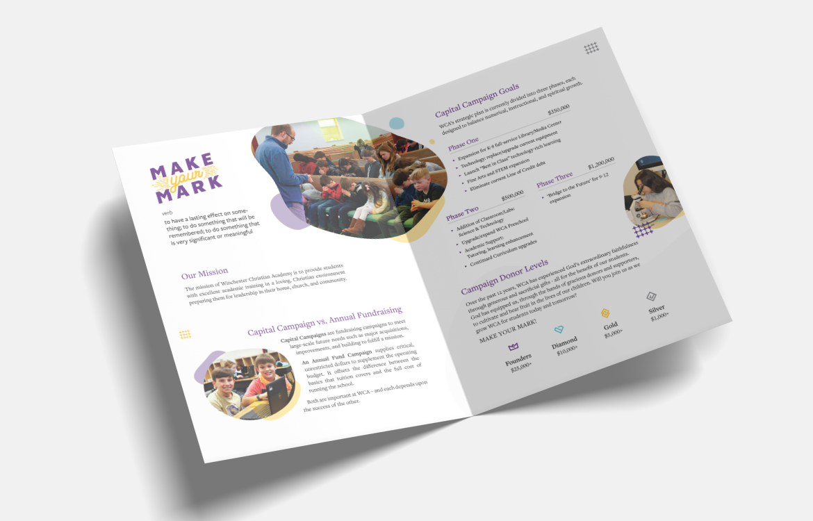 Winchester Christian Academy's Capital fundraiser program Make Your Mark Presentation Folder Design. Inside layout with info and donation support levels.