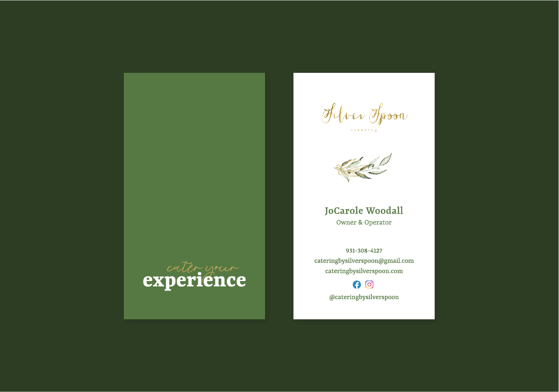 Silver Spoon Catering Business Cards Layout.