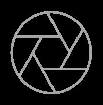 Camera iris icon representing imaging diagnostics