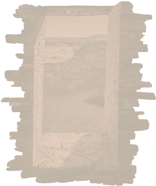 background image looking out a window made of stone in new mexico.