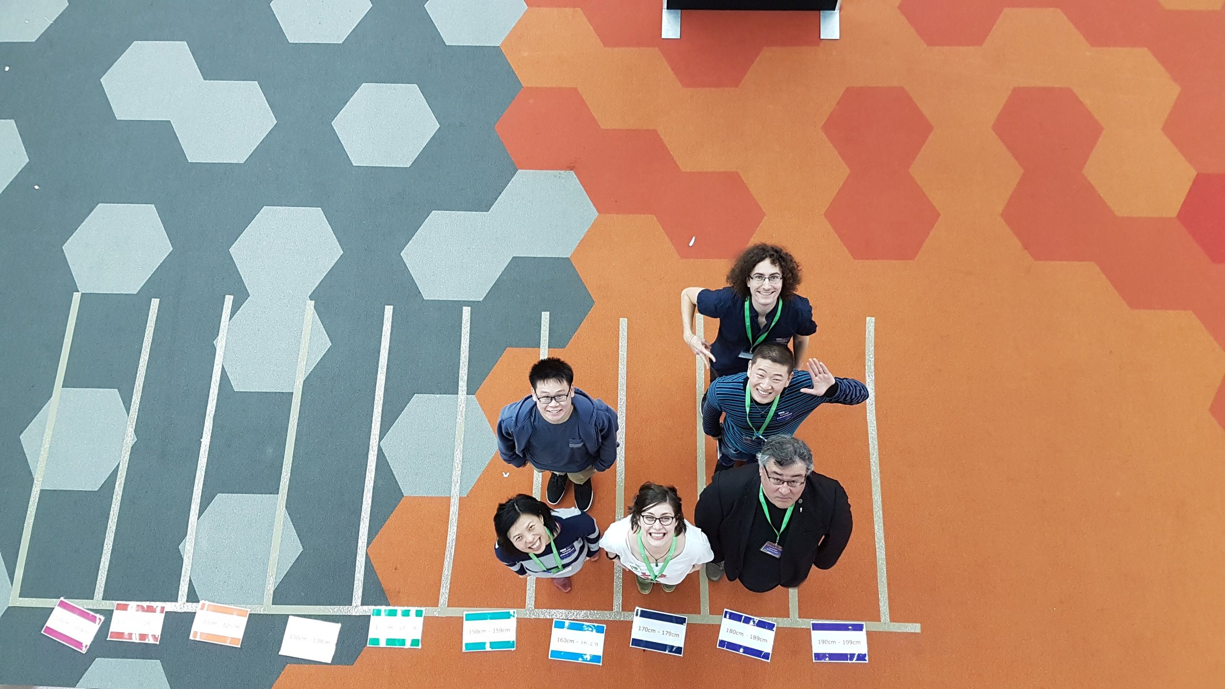 Liza (in her Statistical Bouquet t-shirt) and team form a human histogram at the Incredible Science event