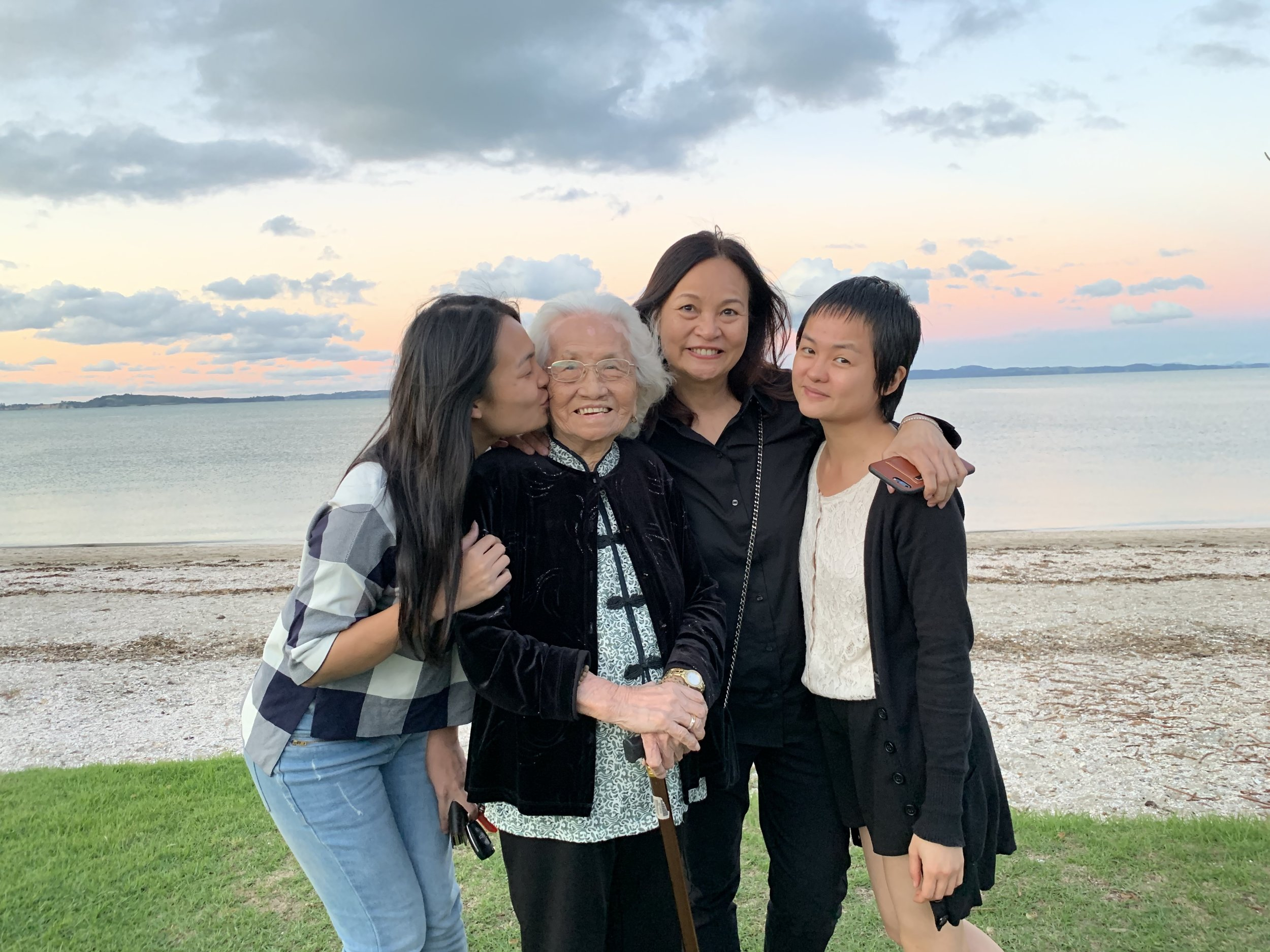Angela Lim and her family on the beach