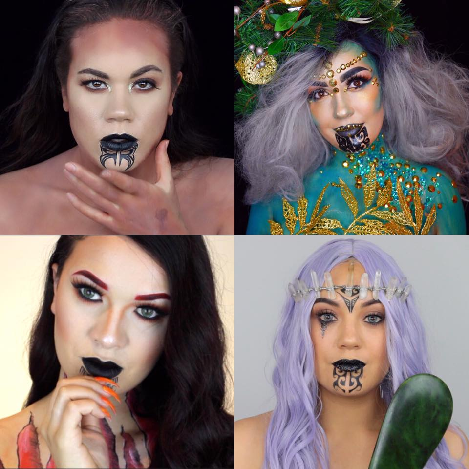 M�ori goddess inspired make up collaboration - Miria Flavell (top left), Summer Brons (top right), Queenie (bottom left), Rhi Kaipo (bottom right)