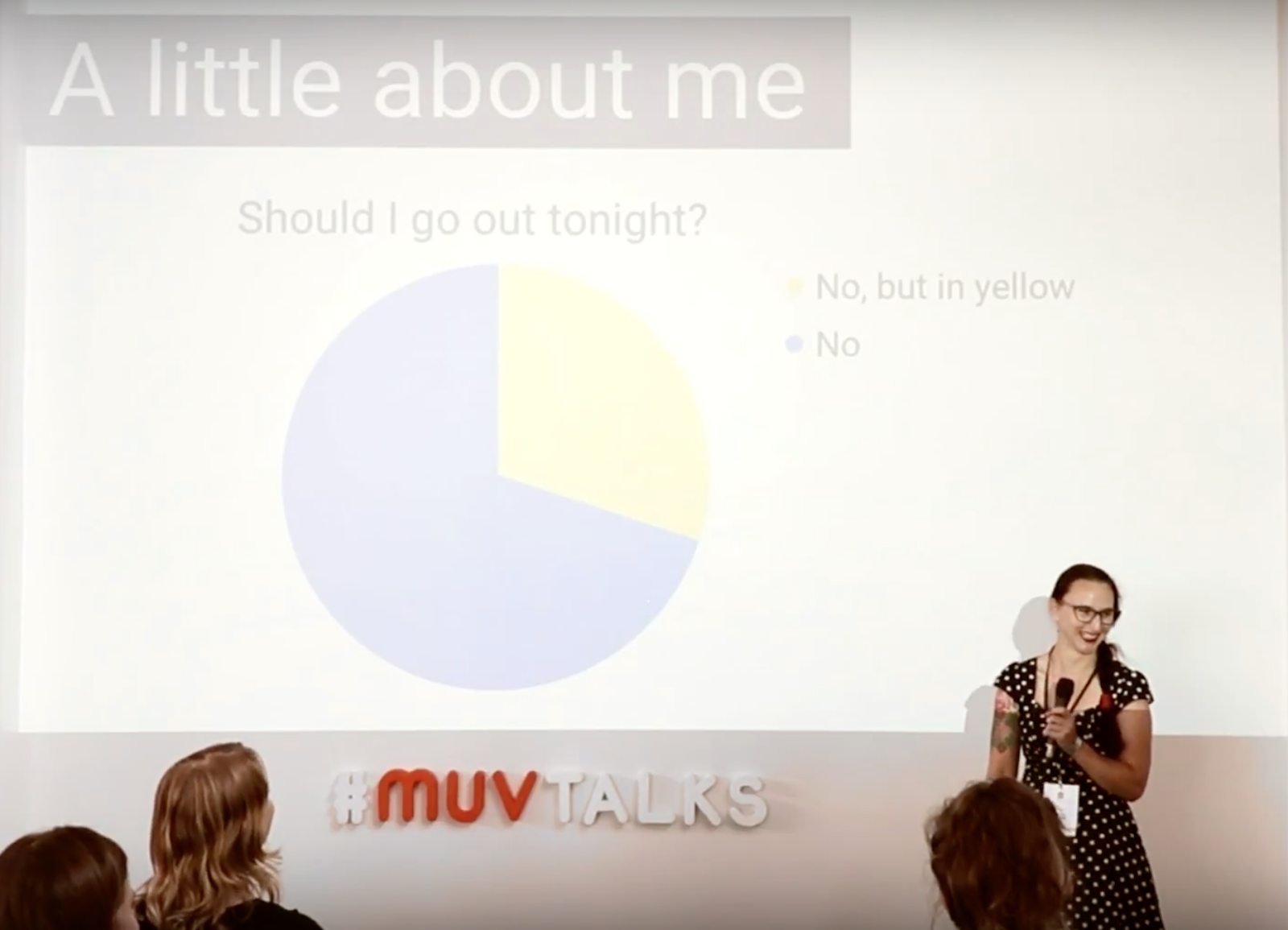 "Tanya giving a presentation at the MUV talks. Pie chart answers the questions ""Should I go out tonight?"" and the answers are: ""No"" and ""No, but in yellow"""