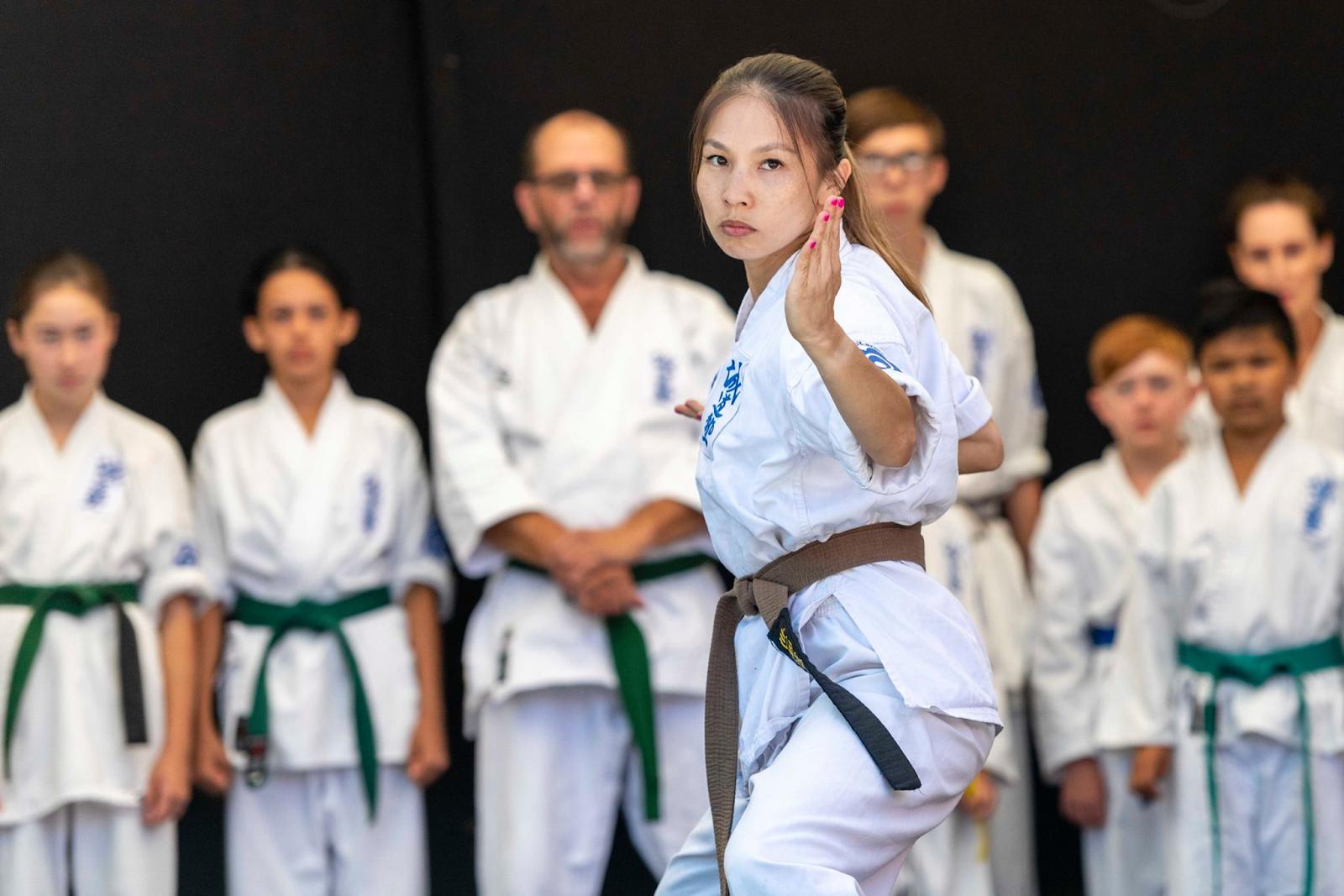 Vivian doing karate at the Japan festival (photo credit Rob Stone Photography)