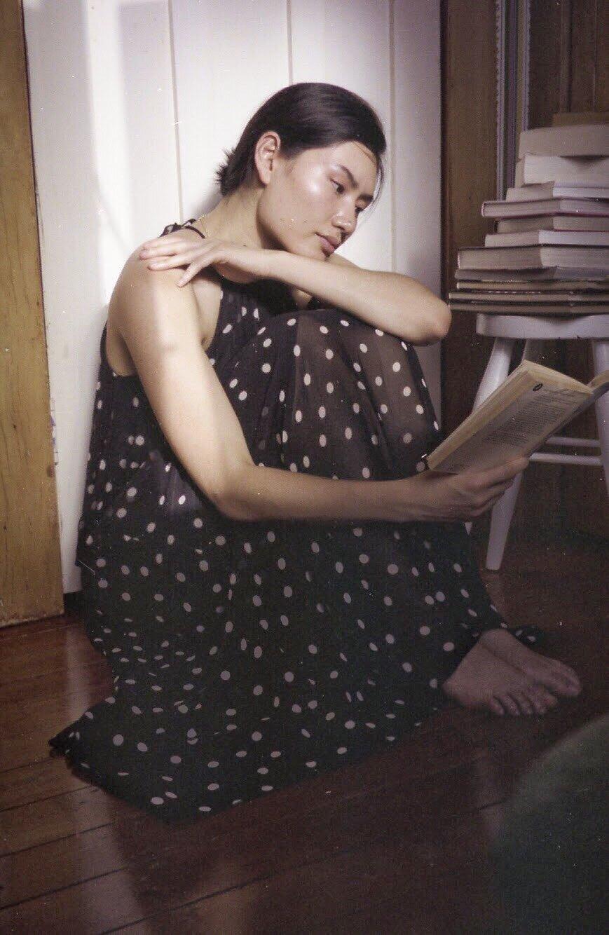 Serena Chen reading a book