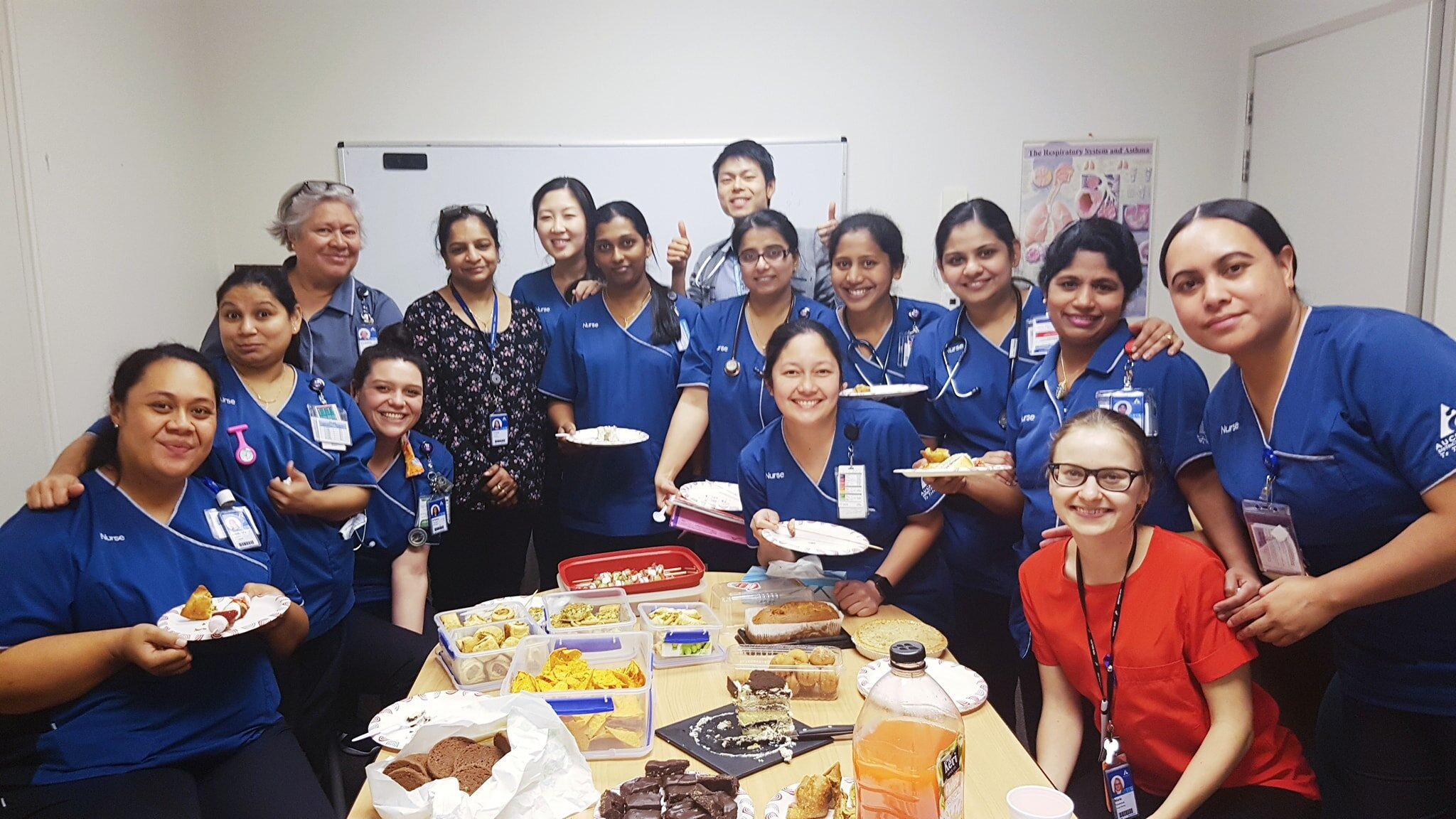 Maria and the nurses of Auckland DHB having a shared lunch
