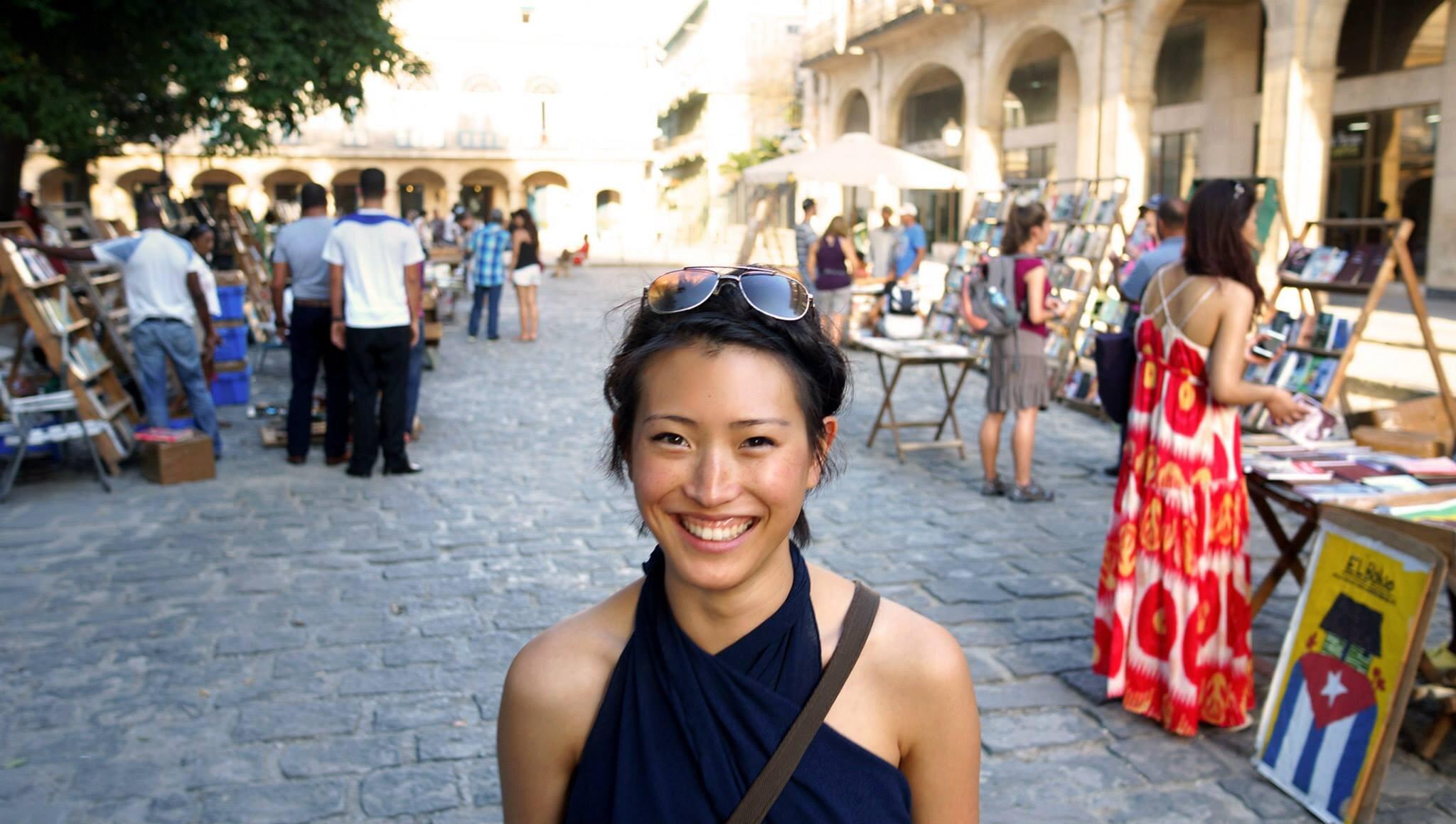 Jenny Sahng at the book market