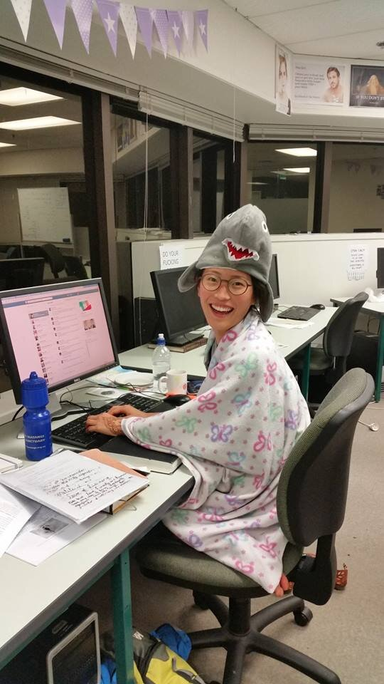 How I looked throughout most of final year. Distracted,    sleep-deprived   , wearing an inexplicable shark hat