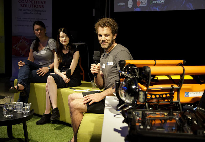 Gazing lovingly at the    Boxfish    marine drone with Elyse Wyatt and Ben King at a    Hardware Meetup