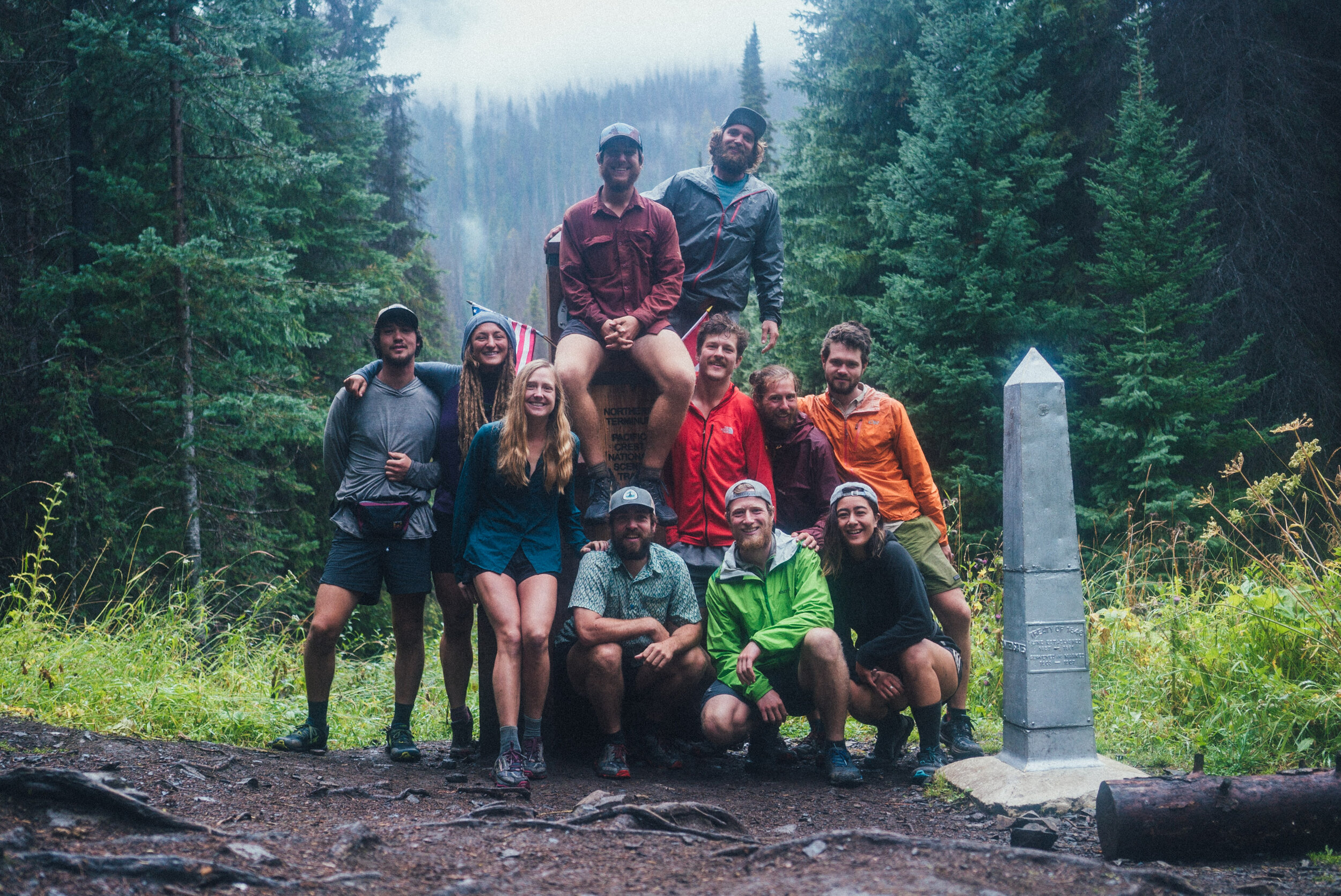 Elina with her trail family at the finish line of the PCT