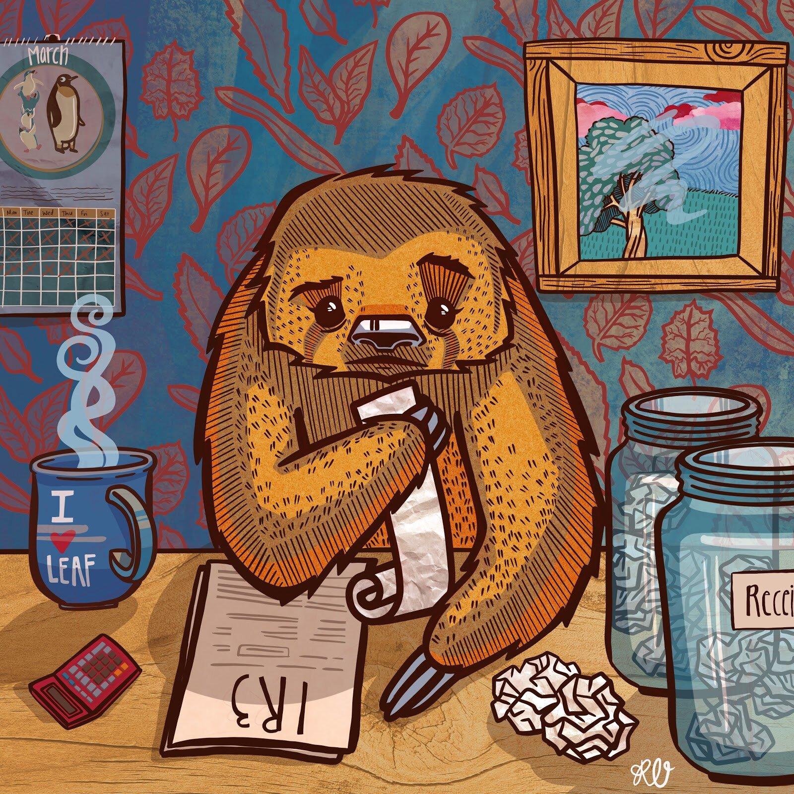 Digital illustration by Rose - a sloth filing an IR3 tax return form