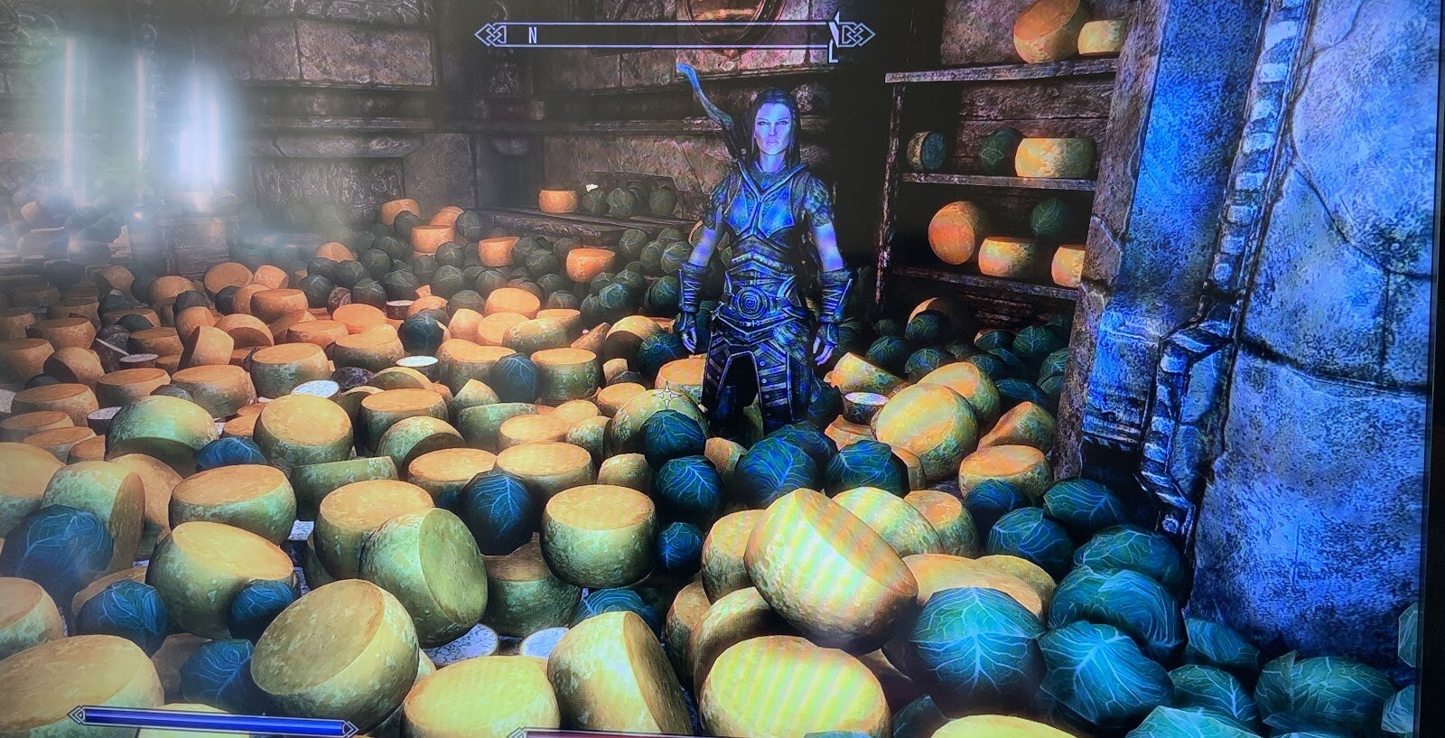 A small portion of Rose's extensive Skyrim cheese and cabbage collection.