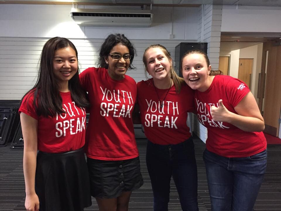 "Sharon with her fellow friends from Youth Advisory Panel - all wearing red T-shirts that say ""Youth Speak�"
