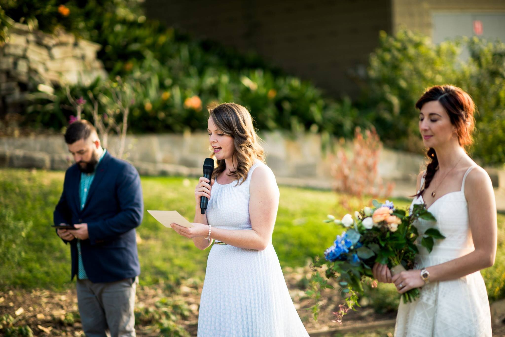 Sharon giving a speech at her brother's wedding