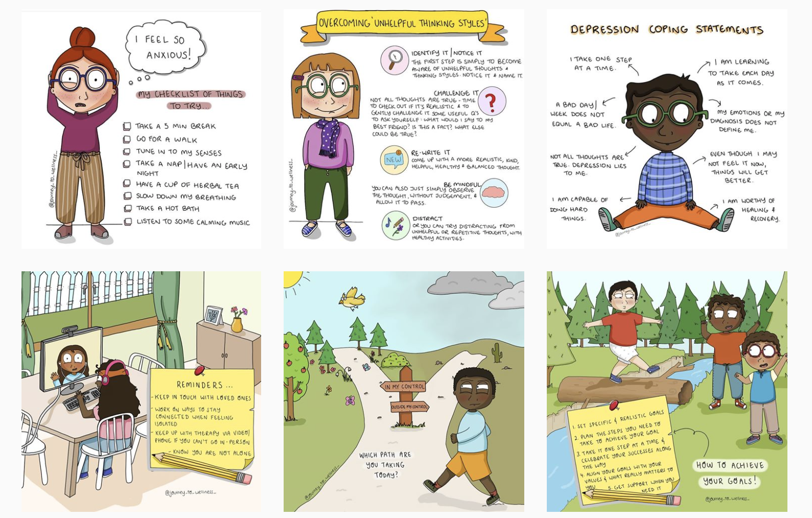 """A snapshot of six posts from Rebekah's instagram page """"Journey To Wellness"""" - all illustrations with advice around mental health"""
