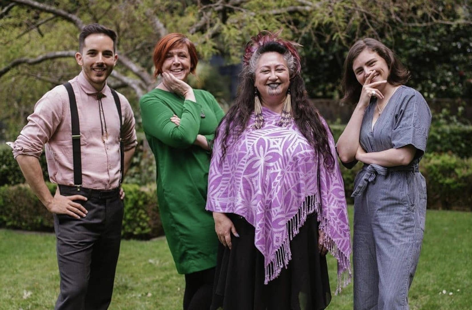 Jan Logie in green dress posing alongside 3 other Green party MPs: Chlöe Swarbrick (far right), Elizabeth Kerekere (centre right) and Ricardo Mene�ndez March (far left), credit to @younggreensnz instagram.