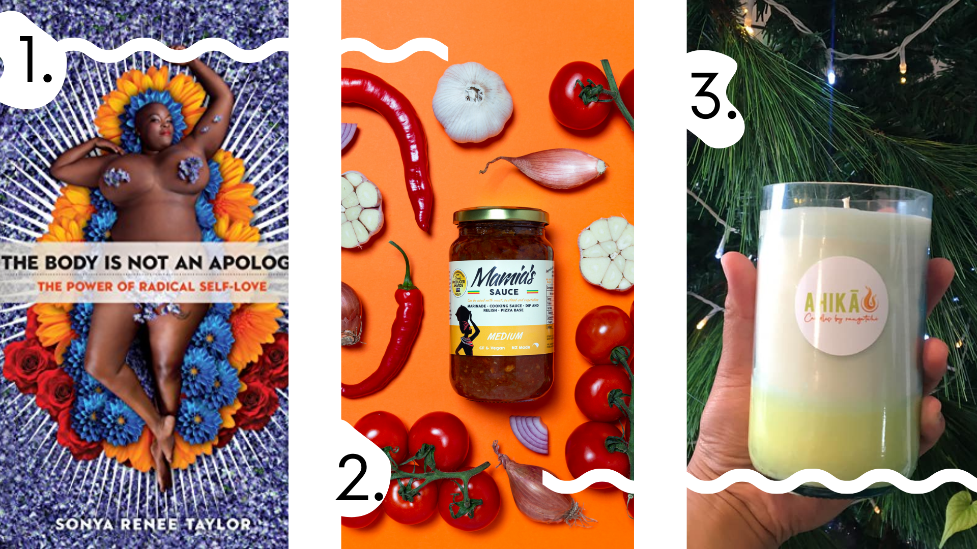 1. Sonya naked covered in purple flowers lying on a flower bed as a cover of her book; 2. A jar of Mamia's sauce on the orange background surrounded by garlic, onion, peppers and tomatoes; 3. Candle being held by a hand in front of the Christmas tree