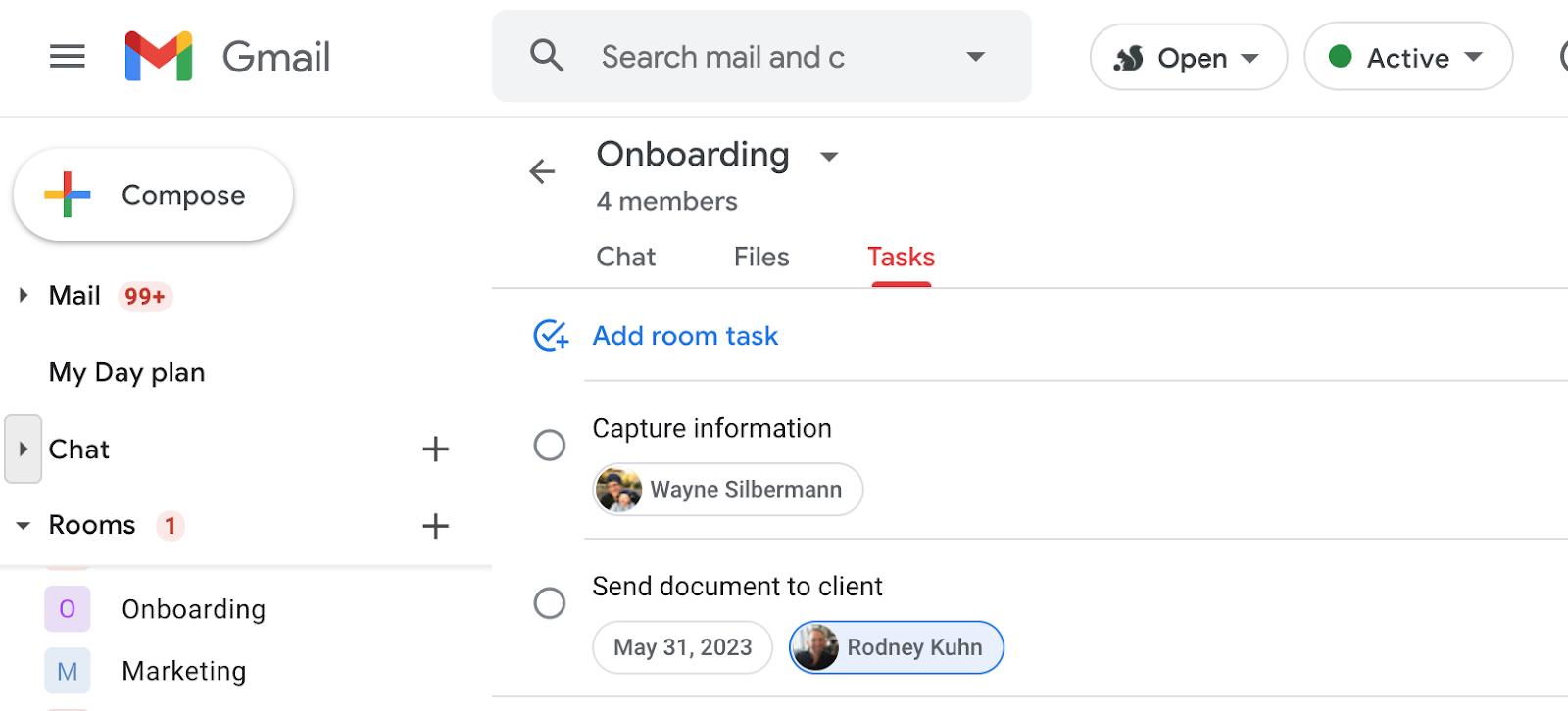 Google Tasks in inside Google Chat in Gmail