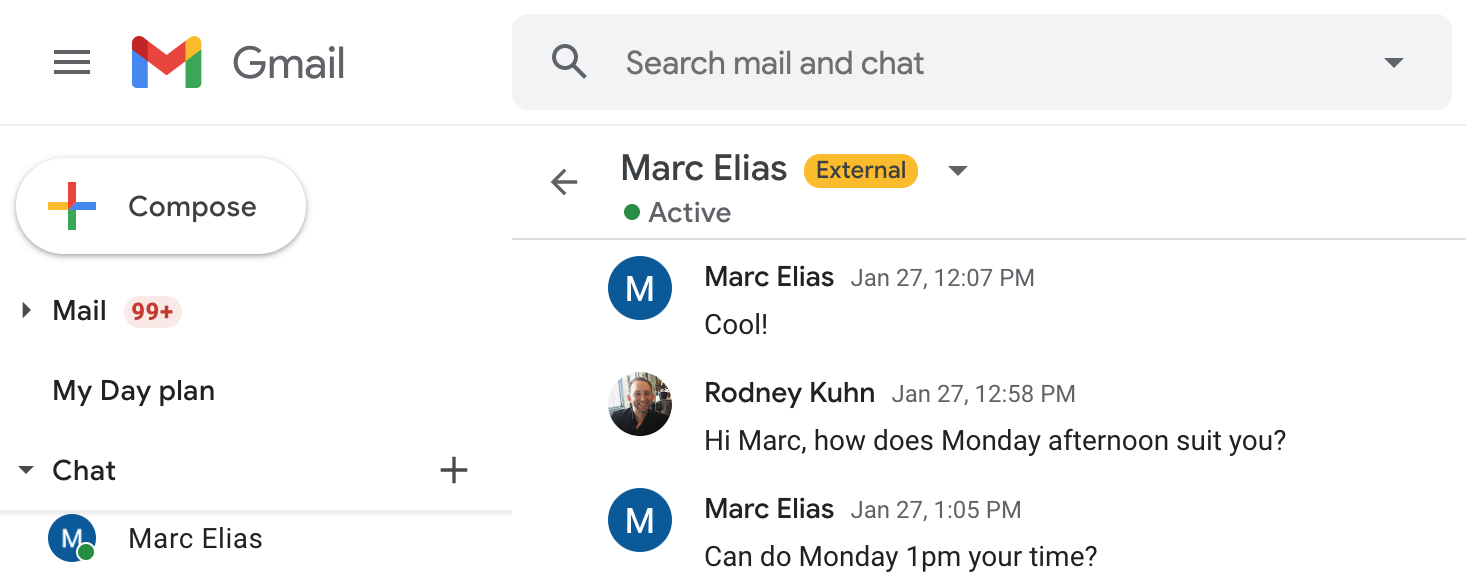 Chat to external users in Google Chat in Gmail