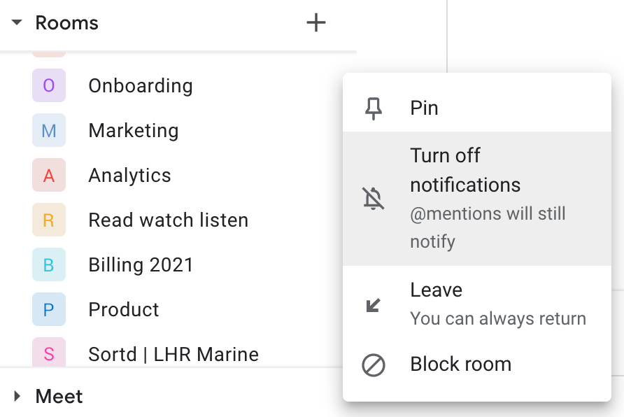 Google Chat Turn off notifications in Gmail