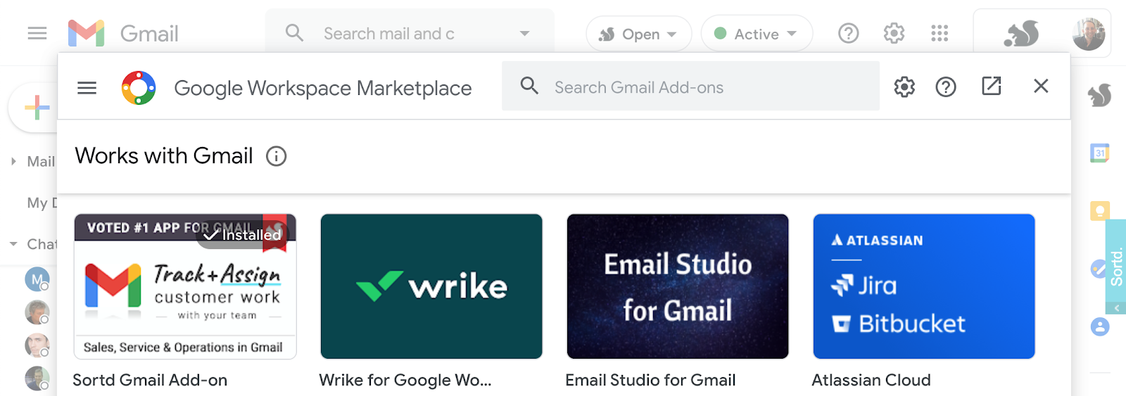 Gmail add-ons in Gmail alongside Google Chat
