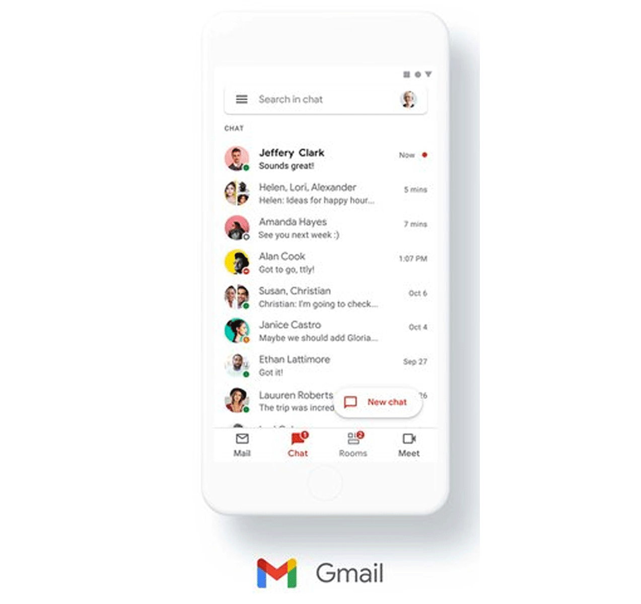 Gmail mobile app with Google Chat