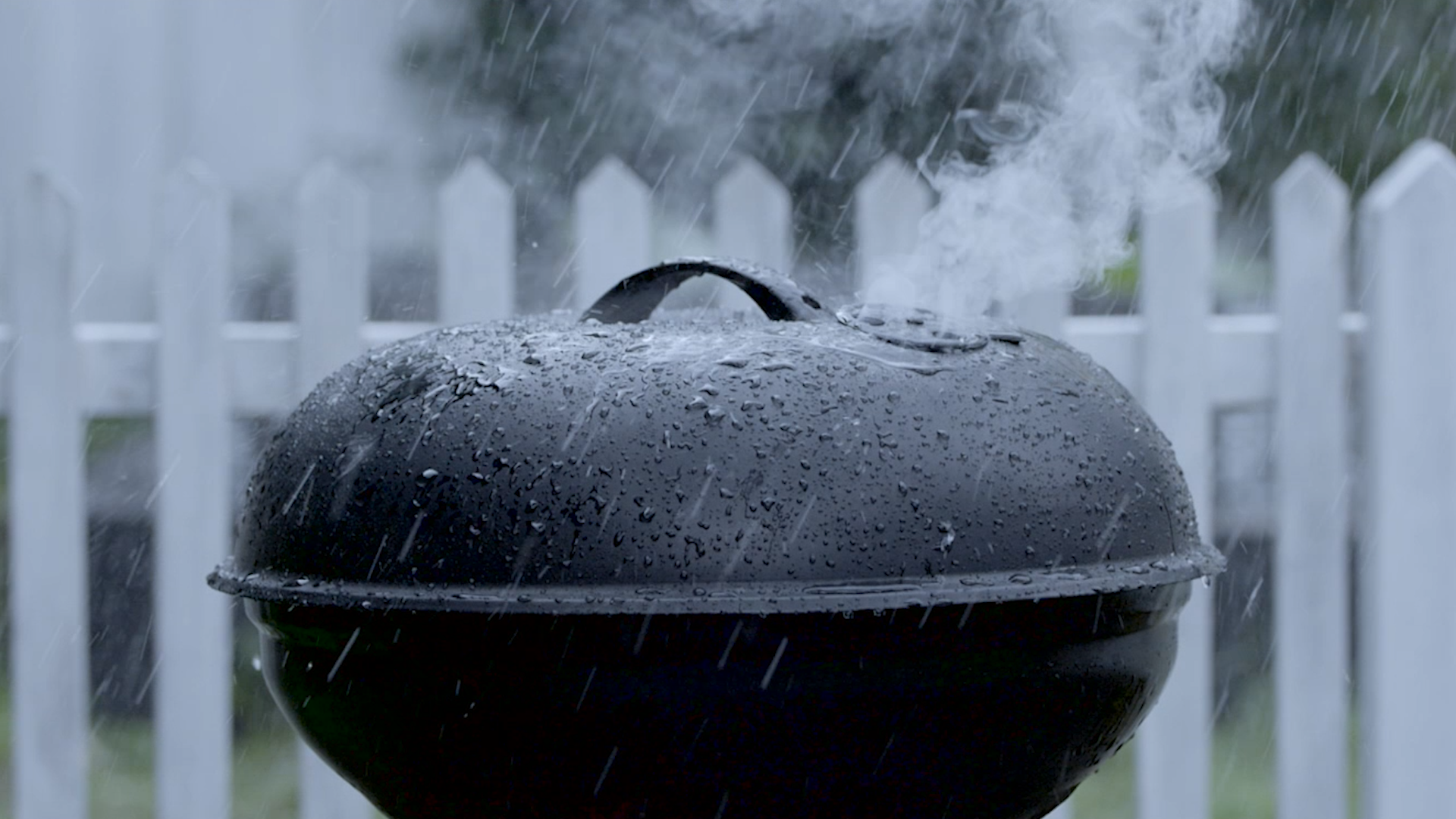 A grill in rainy weather